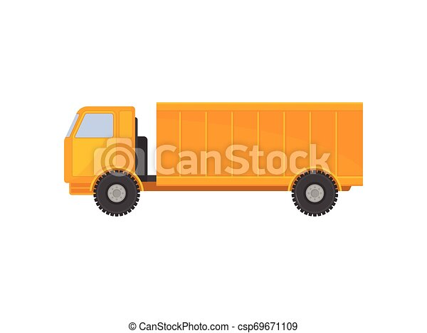 Yellow truck with a body. Vector illustration on white background. - csp69671109