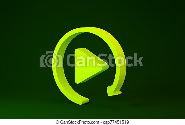 Yellow Video play button like simple replay icon isolated on green background. Minimalism concept. 3d illustration 3D render - csp77451519