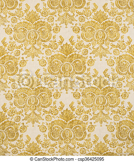 Yellow Vintage Pattern Wallpaper Swatch