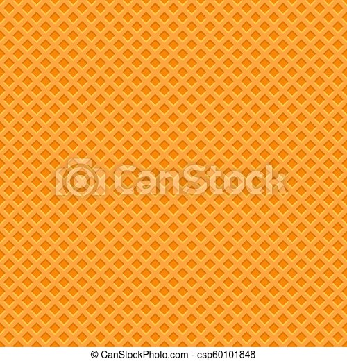Yellow Waffle Texture Pattern. Seamless Background. Vector - csp60101848