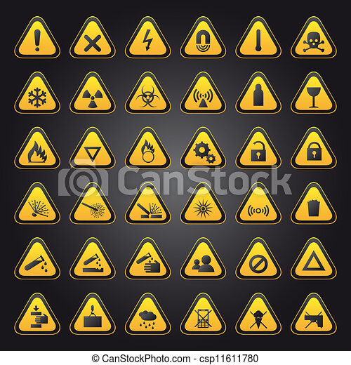 Yellow warning and danger signs - csp11611780