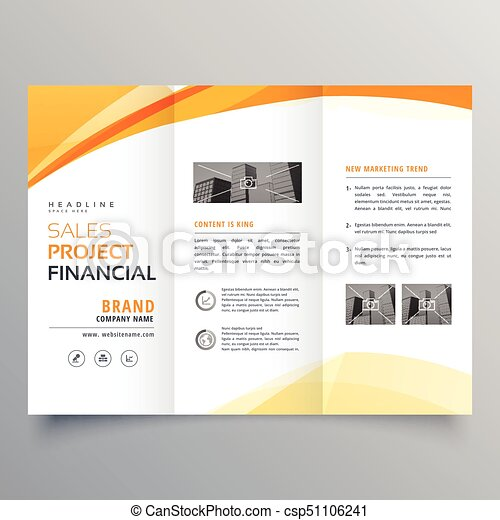 Yellow wavy tri fold business brochure design template vector yellow wavy tri fold business brochure design template vector friedricerecipe Image collections