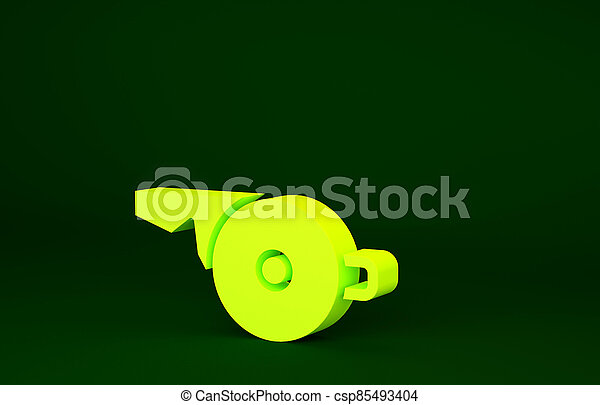 Yellow Whistle icon isolated on green background. Referee symbol. Fitness and sport sign. Minimalism concept. 3d illustration 3D render - csp85493404