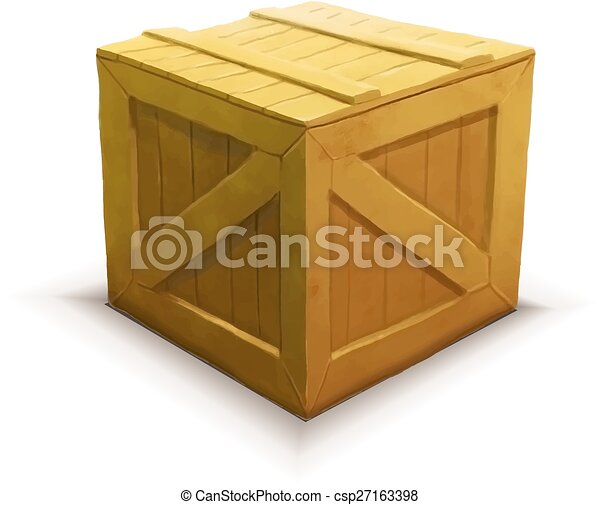 Yellow wooden crate, realistic icon isolated on white - csp27163398