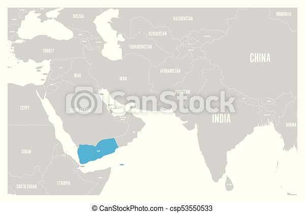 Yemen blue marked in political map of south asia and middle