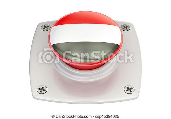 Yemen flag push button, 3D rendering - csp45394025