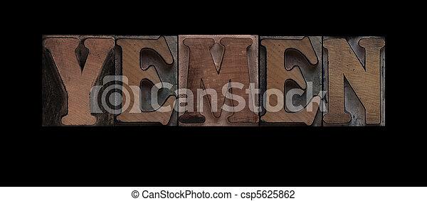 Yemen in old wood type - csp5625862