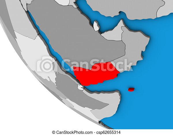 Yemen on 3D globe - csp62655314