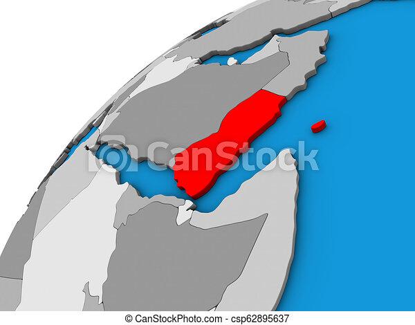 Yemen on 3D globe - csp62895637