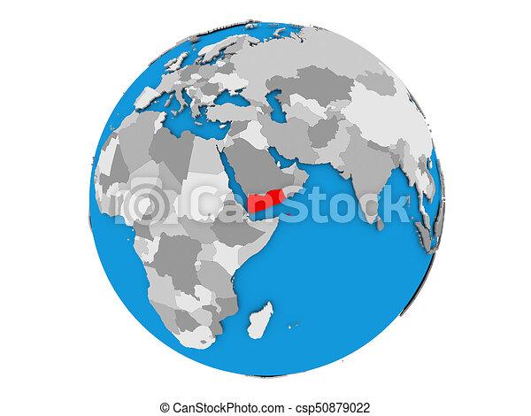Yemen on globe isolated - csp50879022
