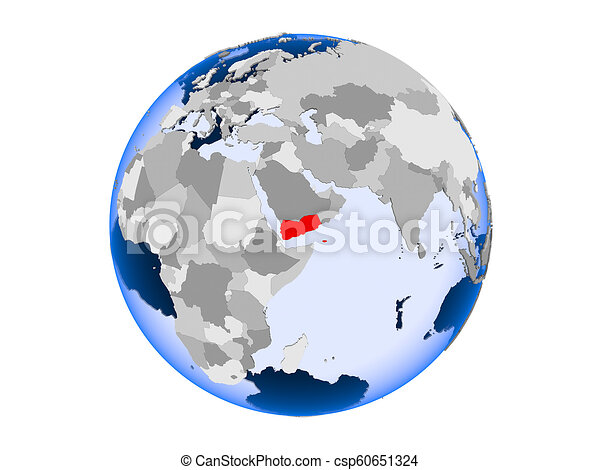 Yemen on globe isolated - csp60651324