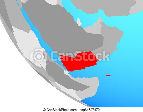 Yemen on globe - csp64827470