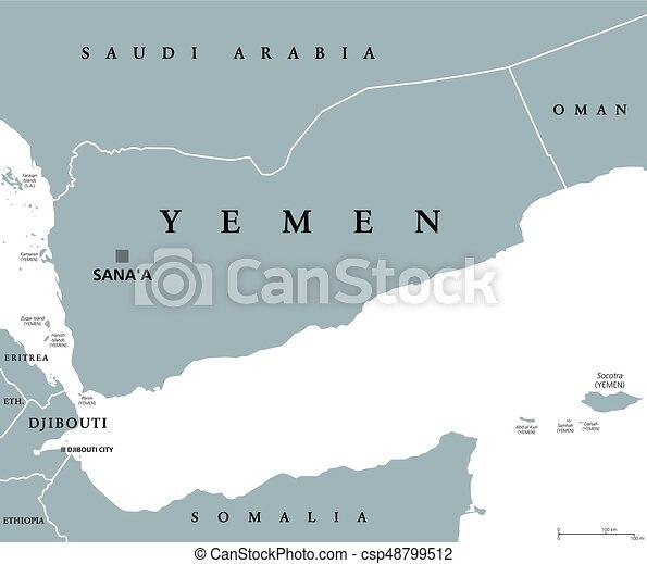 Yemen political map with capital sanaa republic and arab vector