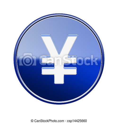 Yen icon glossy blue, isolated on white background - csp14425660