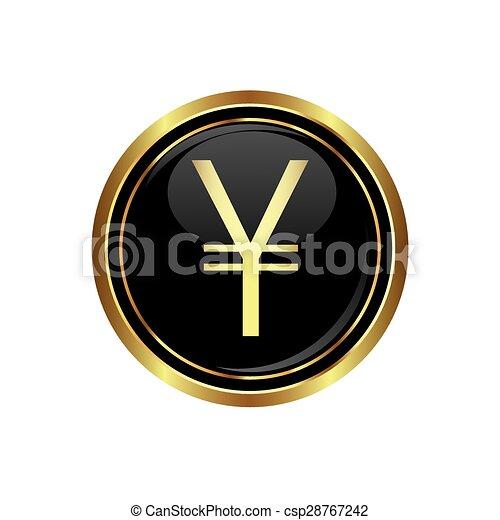 Yen icon on black with gold button - csp28767242