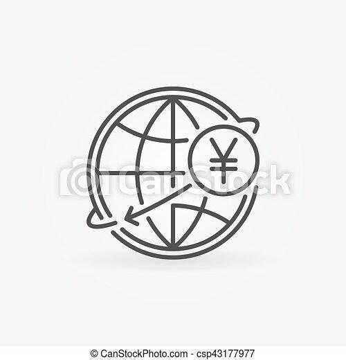 Yen International Money Transfer Icon Jpy Currency Concept Symbol