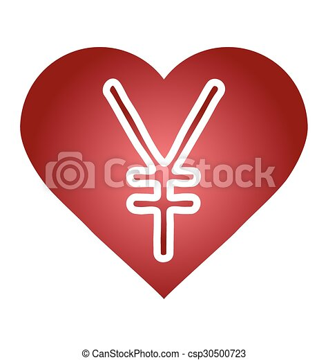 Yen Jpy Currency Symbol Heart With A Currency Icon