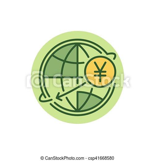 Yen Money Transfer Flat Icon Yen International Money Transfer Flat
