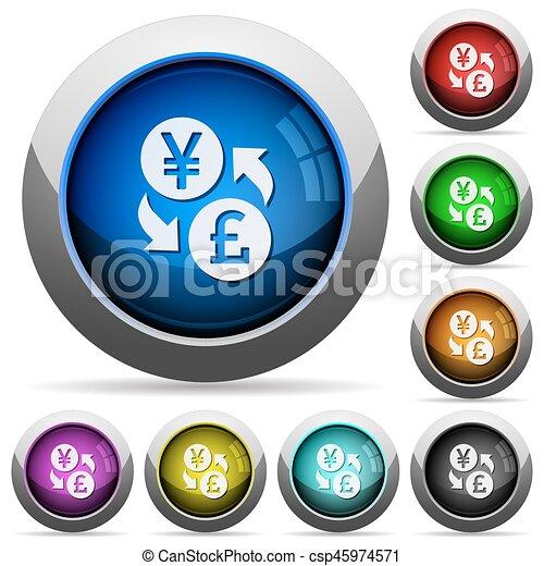 Yen Pound money exchange round glossy buttons - csp45974571