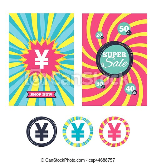 Sale Banners And Labels Special Offer Tags Yen Sign Icon Jpy