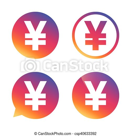 Yen Sign Icon Jpy Currency Symbol Money Label Gradient Buttons