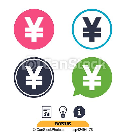 Yen Sign Icon Jpy Currency Symbol Money Label Report Document
