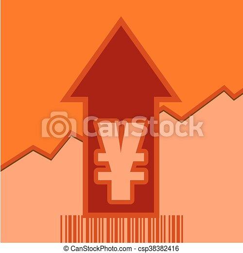 Yen sign on grow up arrow and bar code - csp38382416