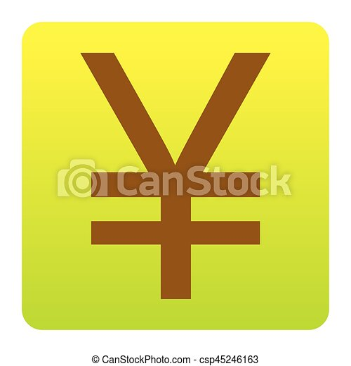 Yen sign. Vector. Brown icon at green-yellow gradient square with rounded corners on white background. Isolated. - csp45246163