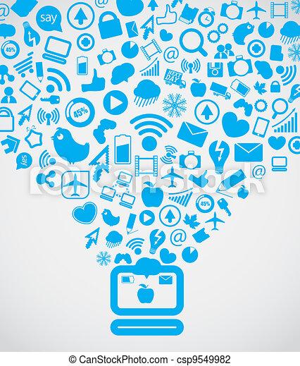 El contenido de las redes sociales moderno bajando a la computadora - csp9549982