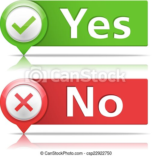 Yes And No Banners Yes And No Banners With Check And Cross Symbols