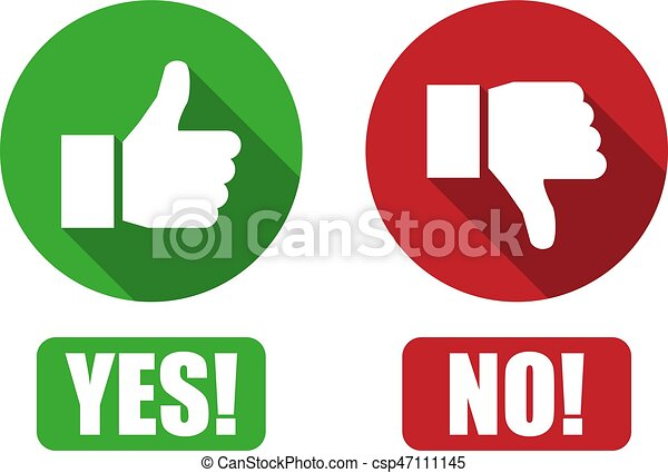 yes and no button with thumbs up and thumbs down icons rh canstockphoto com Thumbs Up Thumbs Down Clip Art to the Side Thumbs Smily Thumbs Up Thumbs Down