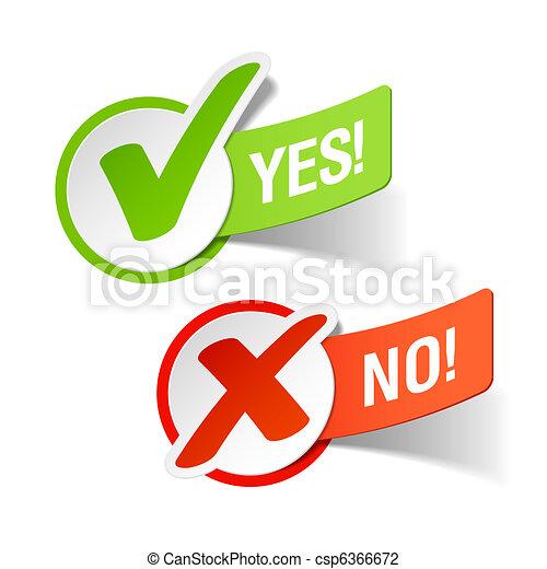 Yes and No check marks - csp6366672