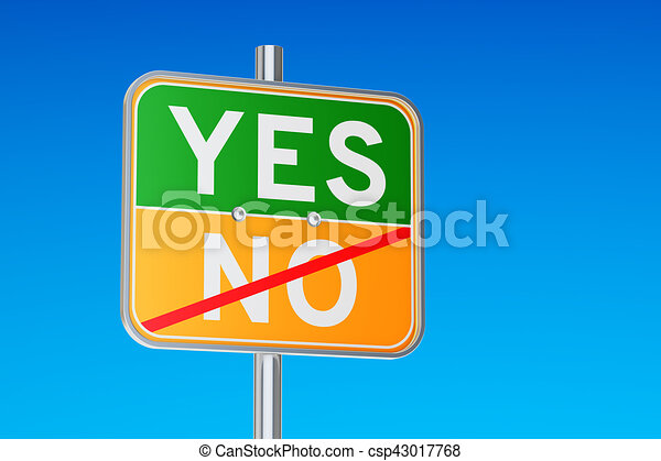 yes concept on the road signpost 3d rendering