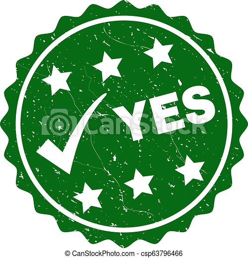Yes Grunge Stamp with Tick - csp63796466