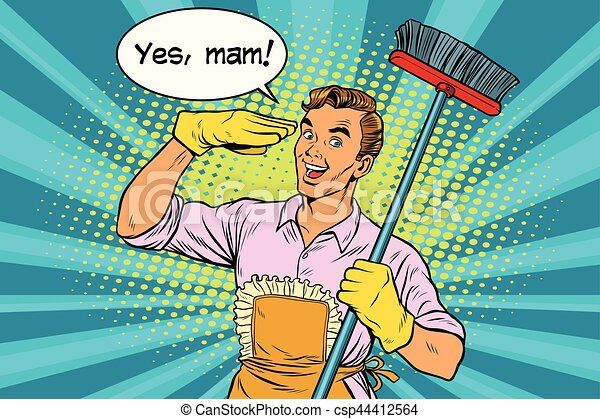 yes mam husband and cleaning the house vintage pop art house cleaning clip art black & white house cleaning clipart transparent