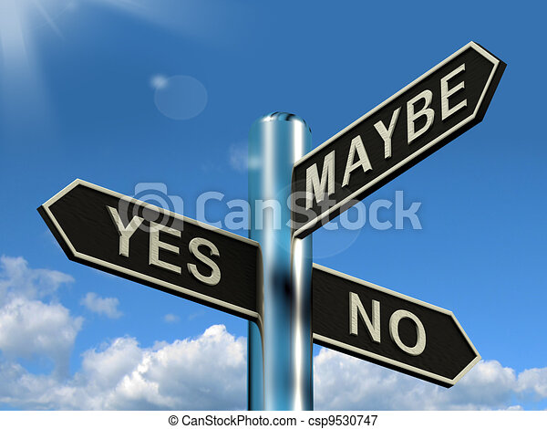 Yes No Maybe Signpost Shows Voting Decision Or Evaluation - csp9530747