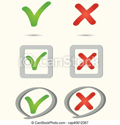 Yes No Symbol Icon Tick And Cross Icons Yes No Symbols Green An
