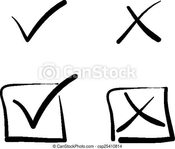 yes no tick cross box signs vote test answer hand drawn rh canstockphoto com clip art construction worker clip art icons and symbols