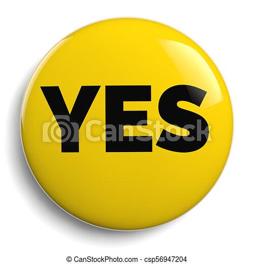 Yes Round Yellow Icon Symbol - csp56947204