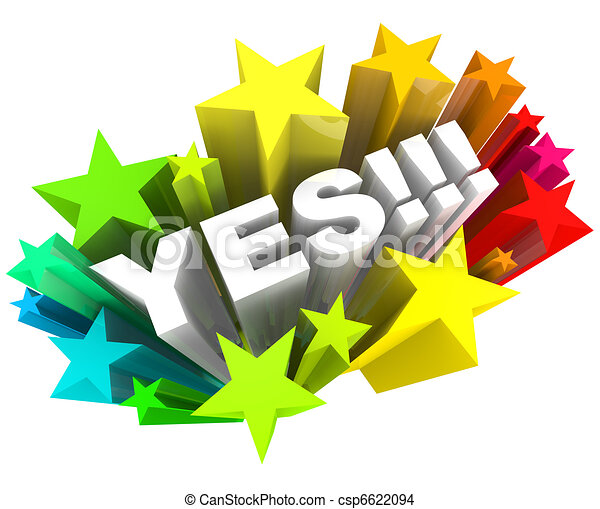 Yes Word and Stars - Agreement and Excitement - csp6622094