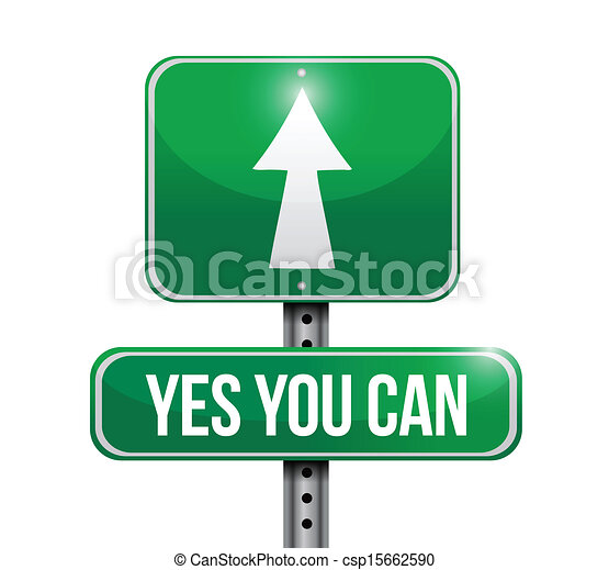 yes you can road sign illustration design - csp15662590