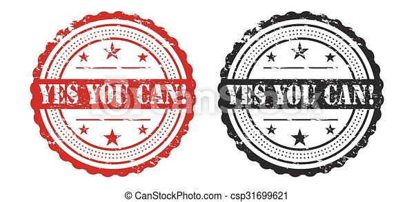 Yes You Can Slogan Over Grunge Stamp / Stamp Icon Art / Stamp Icon Jpeg / Stamp Icon Vector / Stamp Icon Symbol - csp31699621