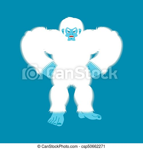 Yeti Angry Bigfoot Evil Abominable Snowman Aggressive Vector Illustration