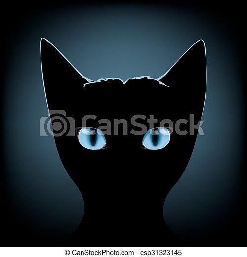 yeux bleus, chat noir , csp31323145