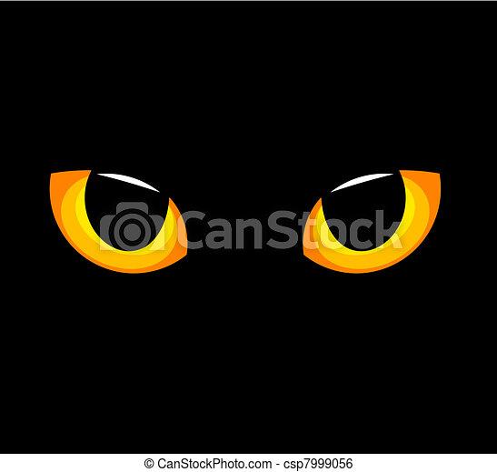 Darkness Yeux Chat Jaune Vecteur Illustration Hypnotique