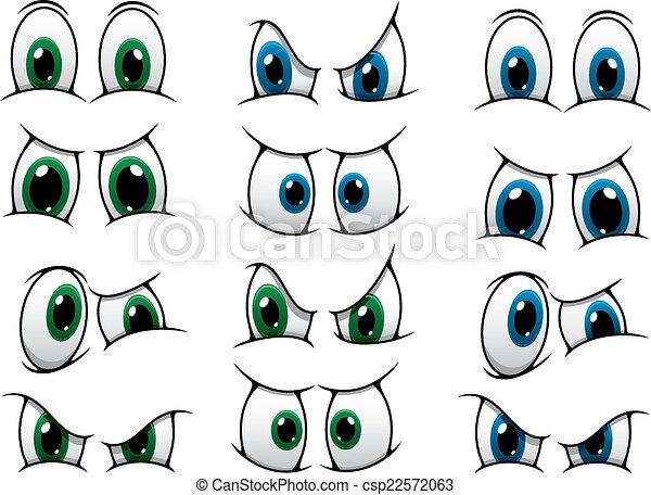 yeux, ensemble, projection, divers, expression, dessin animé - csp22572063