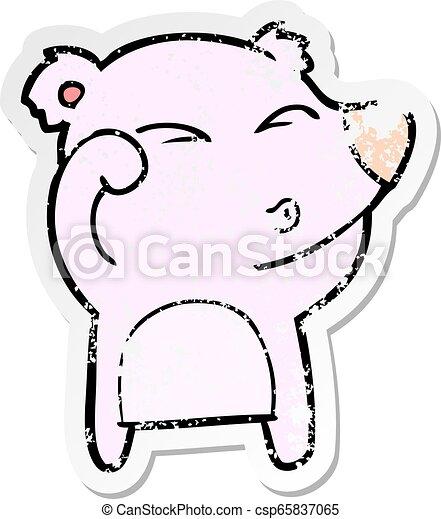 yeux, fatigué, affligé, autocollant, ours, dessin animé, frottement - csp65837065