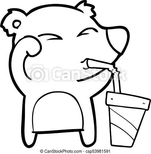 yeux, fatigué, frottement, ours, soude, boire, dessin animé - csp53981591