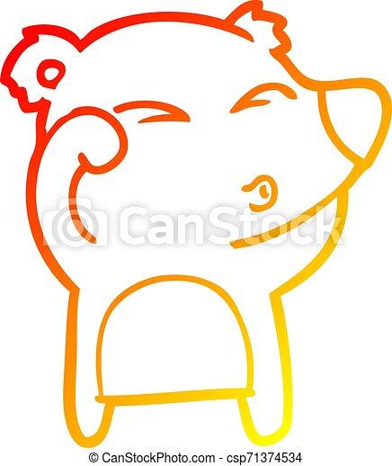 yeux, fatigué, gradient, frottement, ours, dessin, chaud, ligne, dessin animé - csp71374534