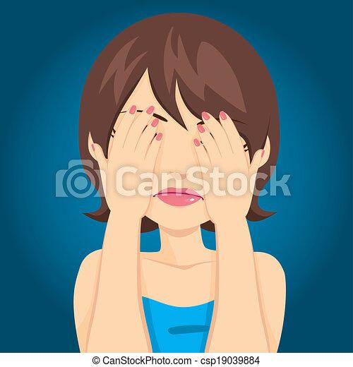 yeux, femme, triste, couverture - csp19039884